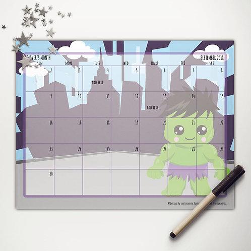 Lg. Green Hero Monthly Calendar