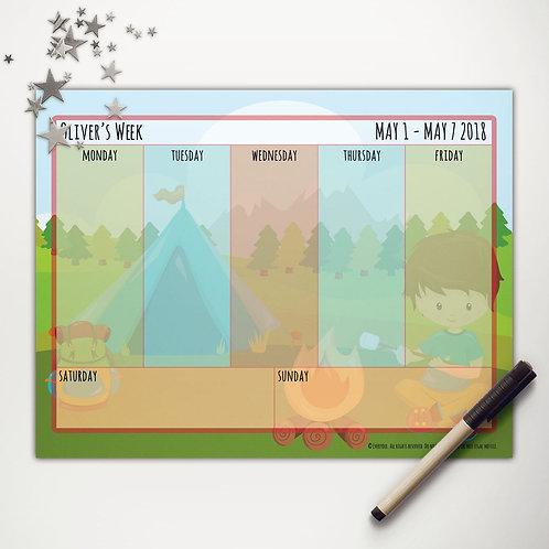 Tent Camping Boy Weekly Calendar (custom character)
