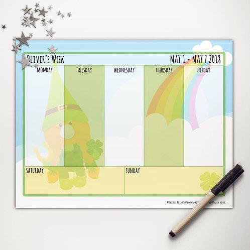 Good Luck Gnome Weekly Calendar