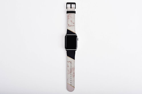 Rose Gold Marble + Black Apple Watch Band