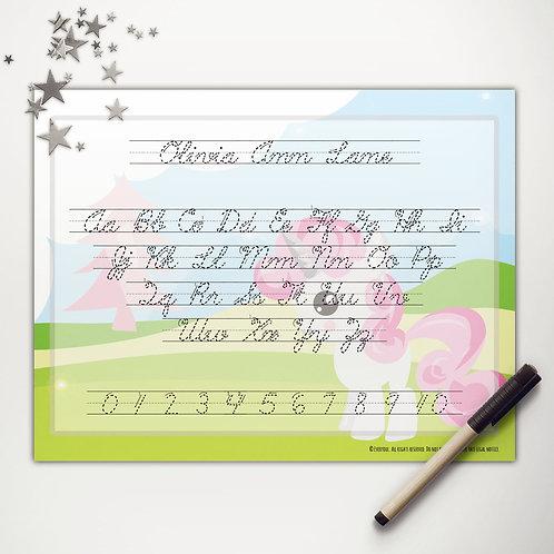 Pink Pony Writing Mat (cursive)