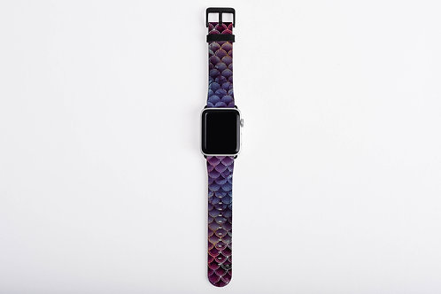 Sangria Glittered Mermaid Scales Designer Apple Watch Band