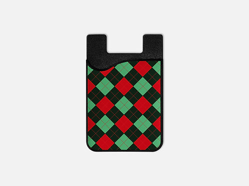 Gingerbread Train Argyle Red Card Holder