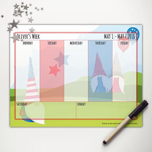 Patriotic Gnomes Weekly Calendar