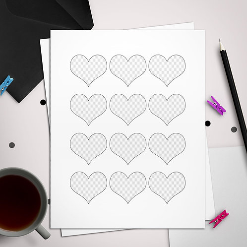 Heart Toppers or Favor Tags Template