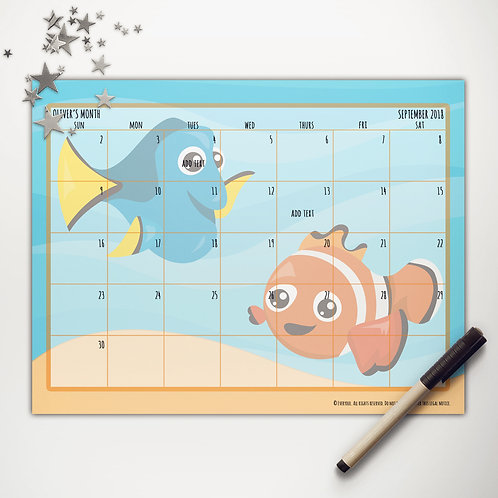 Finding Fish Monthly Calendar