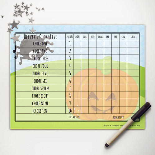 Pumpkin + Spider Basic Chore Chart with Points