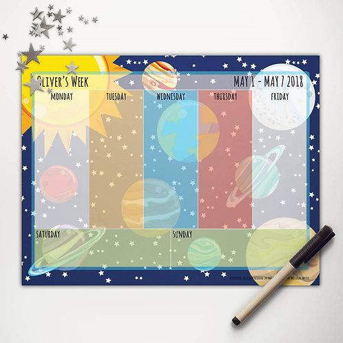 Solar System Weekly Calendar