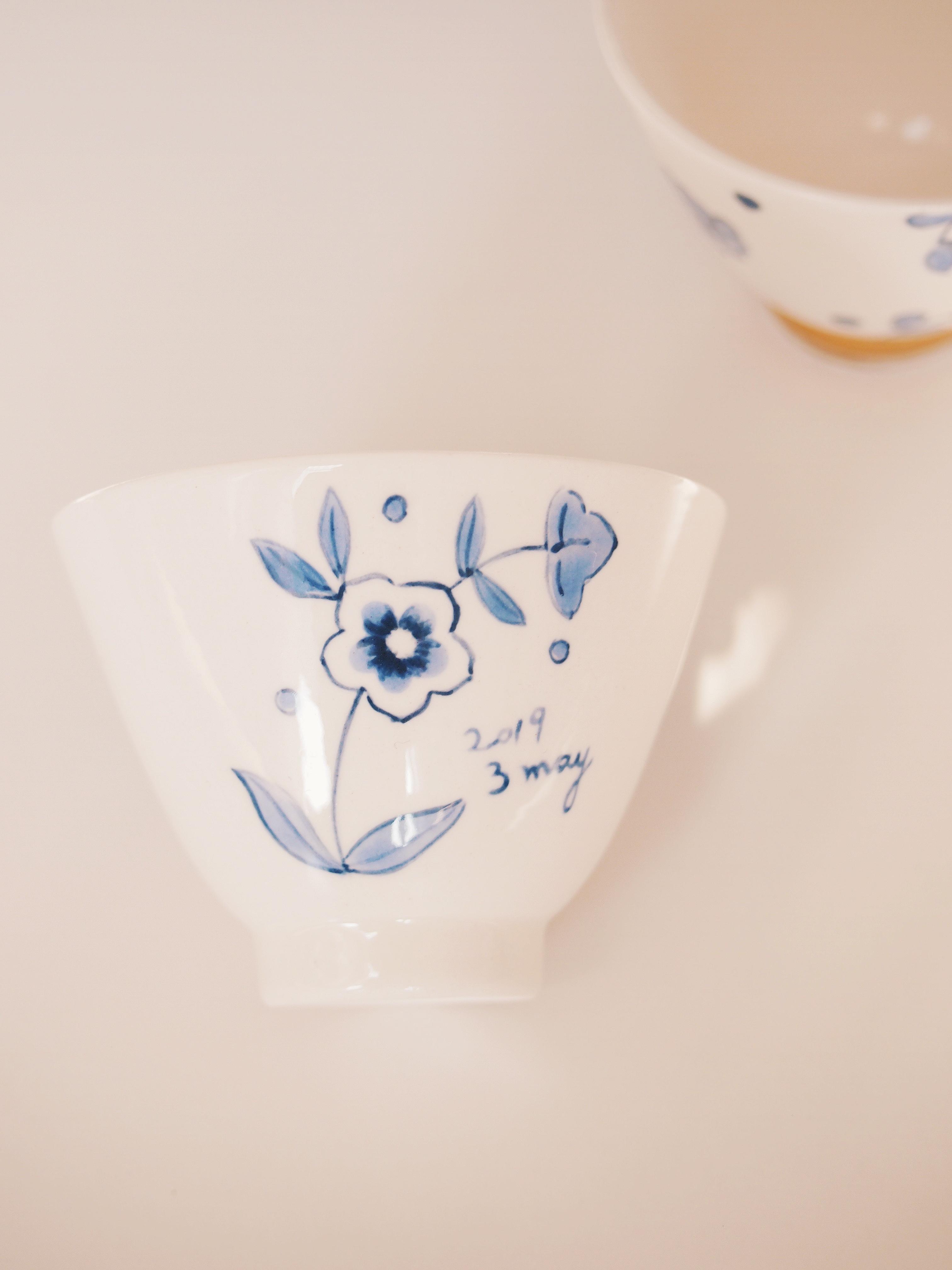 blue n white sake cup
