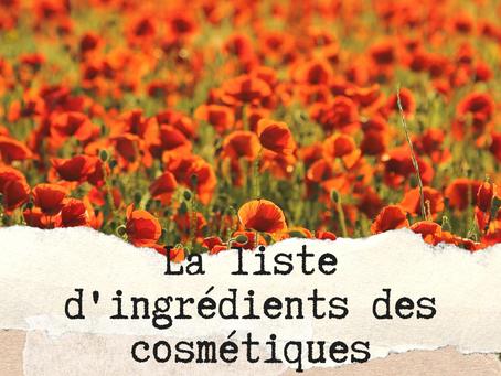 La liste d'ingrédients des produits cosmétiques