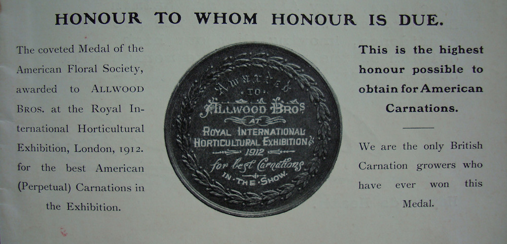 Photo of the medal awarded to Allwoods back in 1912 at Chelsea Flower Show