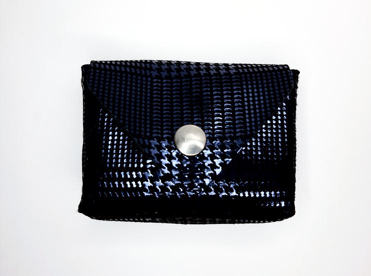 porte monnaie noir bleu imprimé