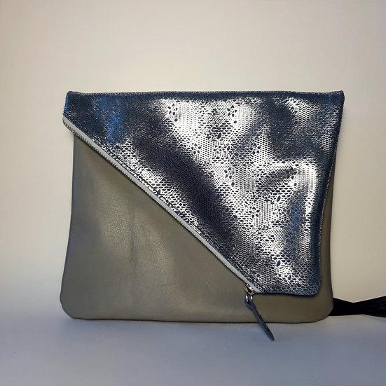 ann's bag PM gris clair/dentelle bleu claire argentée
