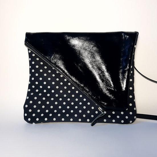 ann's bag PM noir/bleu marine à pois