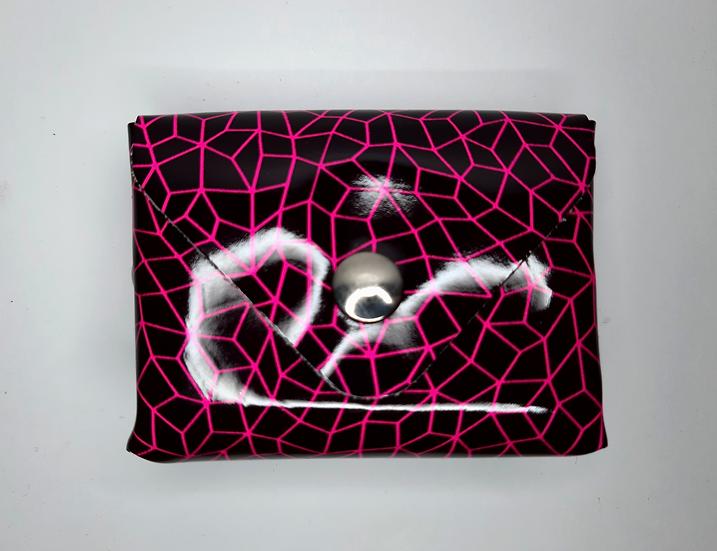 porte monnaie noir / rose fluo