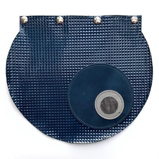 rabat bleu marine vernis gaufré/gris
