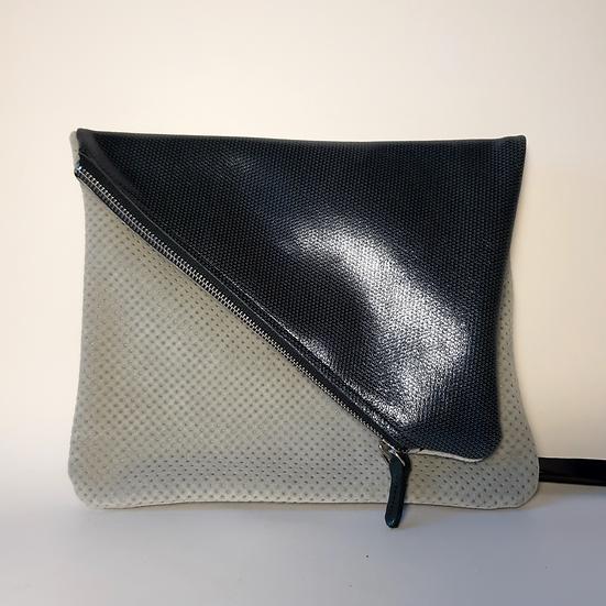 ann's bag PM gris clair peau de pêche/bleu marine