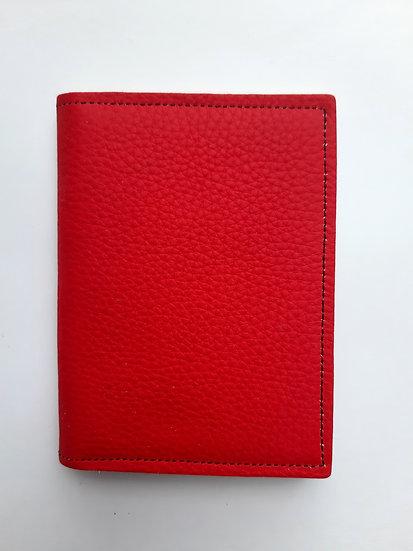 portefeuille rouge peau de pêche/noir
