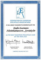 FEPA recognition: The Best European Philatelic Club of the Year 2016