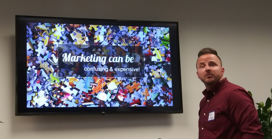 Jay Owen, CEO of St Augustine Marketing Firm Design Extensions at the March 2020 meeting of the Jacksonville Marketing Meetup (The JOMM) discussing the StoryBrand marketing technique.