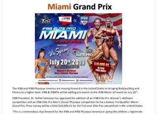 IFBB Elite Pro Event added to Miami Grand Prix!