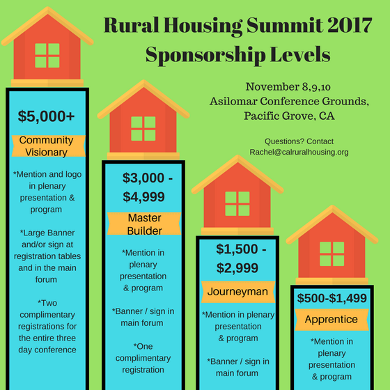 Sponsorships now available for the Rural Housing Summit - November 8,9,10, 2017