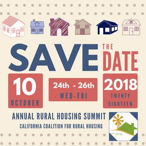 save the date Rural Housing Summit October 24-26, 2018