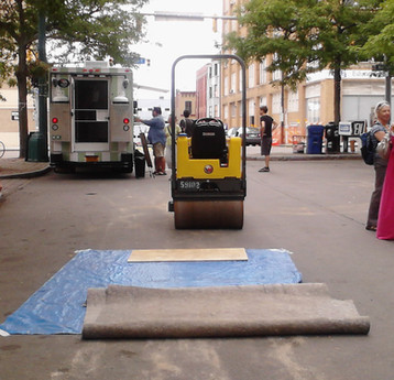 The steamroller used to print the block