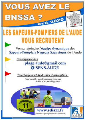 Offre d'emploi BNSSA - Plage AUDE