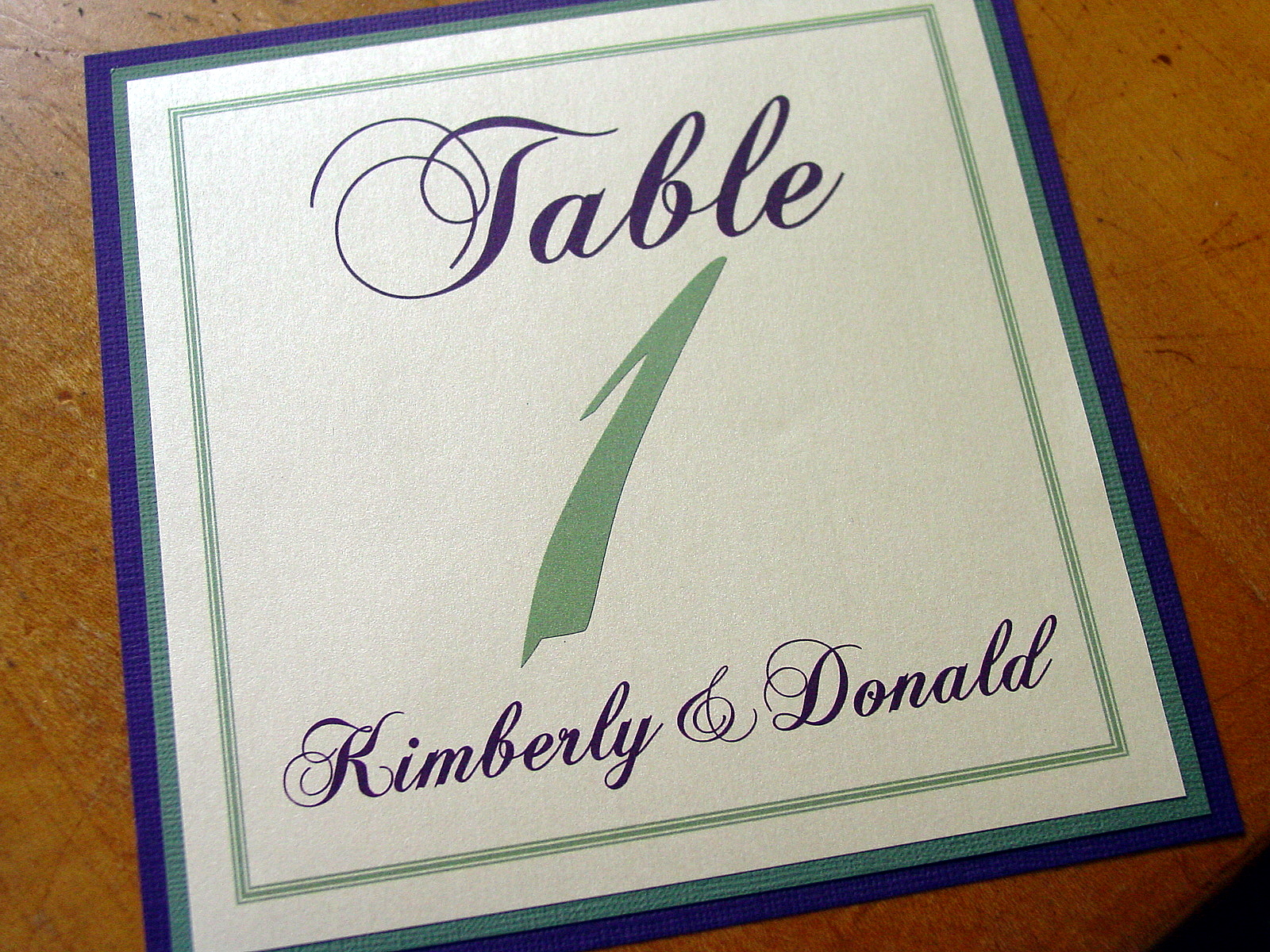 Kim and Don - Table Numbers