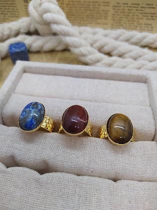 MARINE en lapis lazuli, jaspe rouge et oeil de tigre