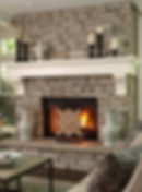 Veneer stone fireplce