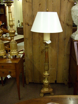 French Gilded Wood Candlestick lamps