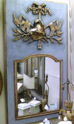 18th C. French Painted blue Trumeau