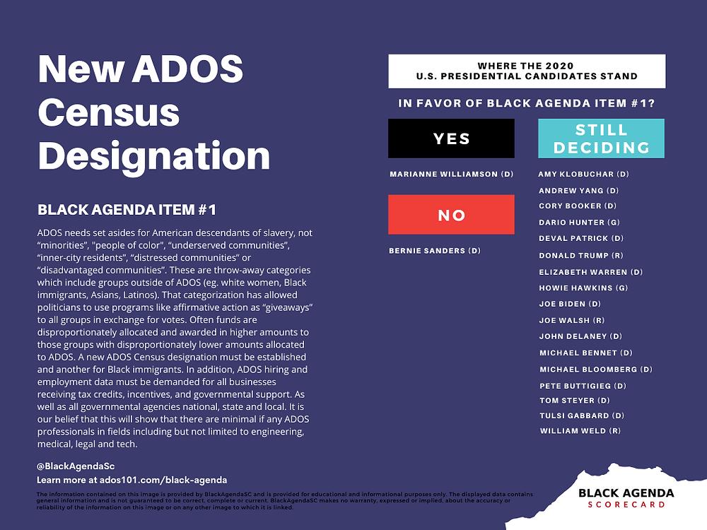 ADOS Census Designation Black Agenda Item 1 Black Agenda Scorecard