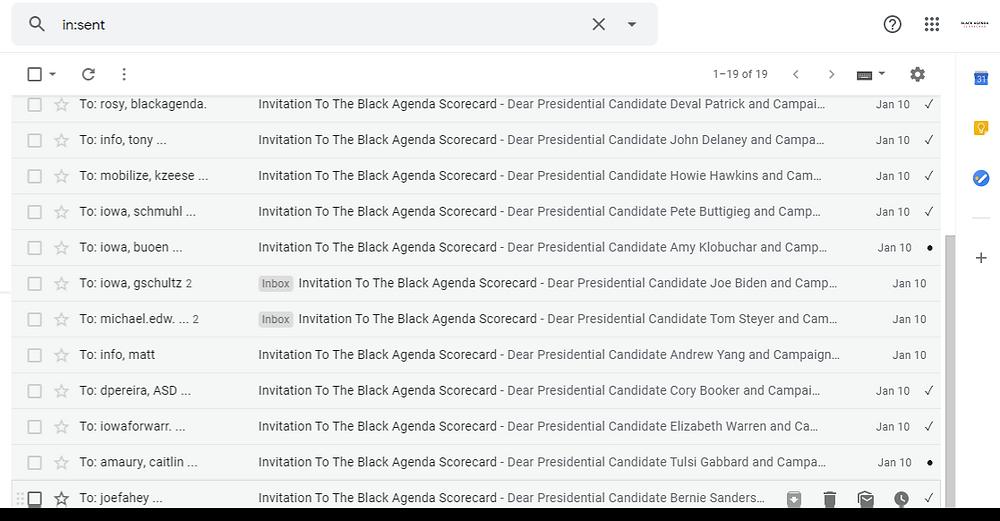 Email Presidential Candidates Notifying Black Agenda Scorecard