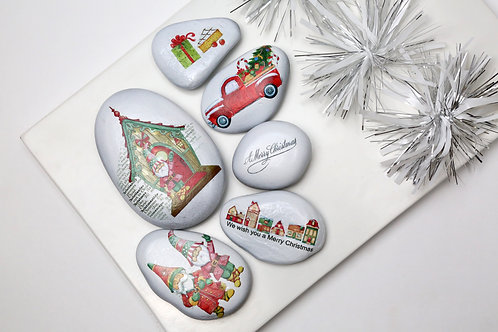 Christmas decorated pebbles - Elf World for decorations, interior decor, candle  and gifting - Stozo pebbles