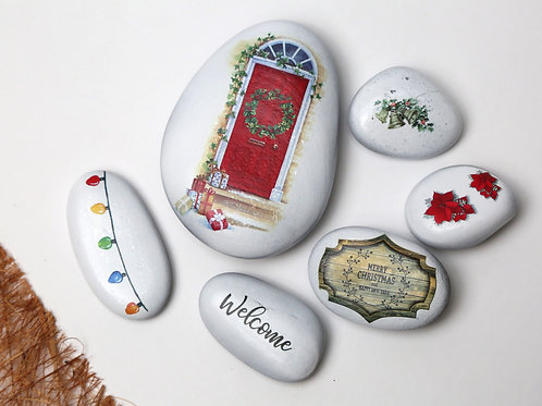 Christmas decorated pebbles - Home Sweet home for decorations, interior decor, candle  and gifting - Stozo pebbles