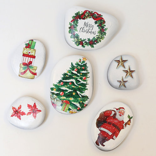 Christmas decorated pebbles - Merry christmas theme for decorations and gifting - Stozo pebbles