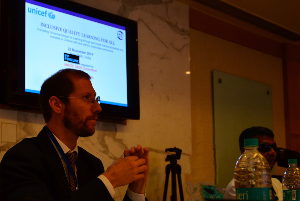 """Representative of the World Federation of the Deaf (WFD) at the Forum on Promoting Quality Education for Children with Disabilities through """"Universal Design"""" of All Learning Materials hosted by UNICEF - New Delhi, India - 23 November 2014"""
