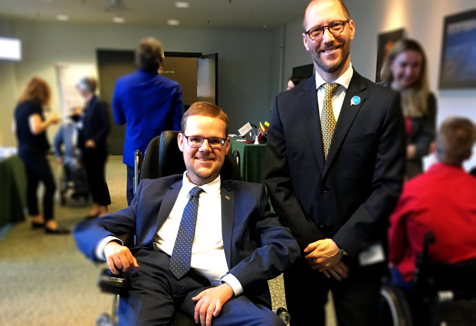 With Justas Dziugelis, member of parliament in Lithuania to discuss about the importance of active participation of people with disabilities in political and public life - Vilnius - May  2018 - ☝ ⏎