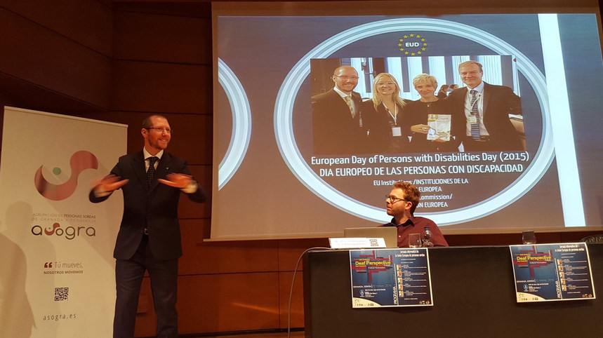 Presentation about our EUD work at the EU Institutions at the Seminar 50th Anniversary of Granada Association of the Deaf (ASGORA) - Granada, Spain - February 2016 - ☝ ⏎