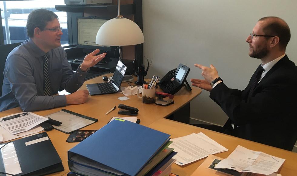 With Adam Kosa, first deaf Member of the European Parlament, deaf politician at the European Parliament office - Brussels, Belgium - ☝ ⏎