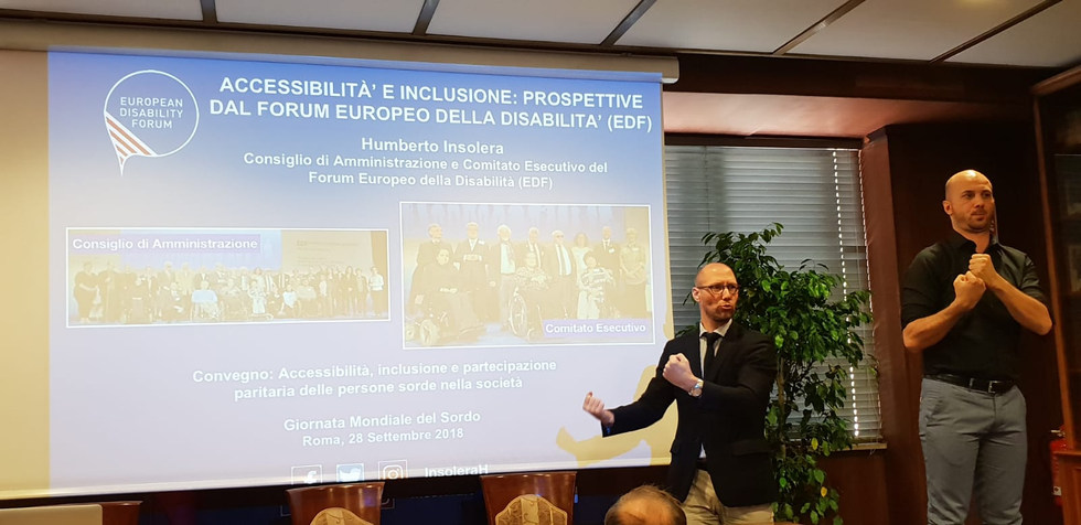 """Presentation about """"Accessibility and Inclusion: Perspectives from the European Disability Forum (EDF)"""" during World Deaf Day - Roma, Italy - September 2018 - ☝ ⏎"""