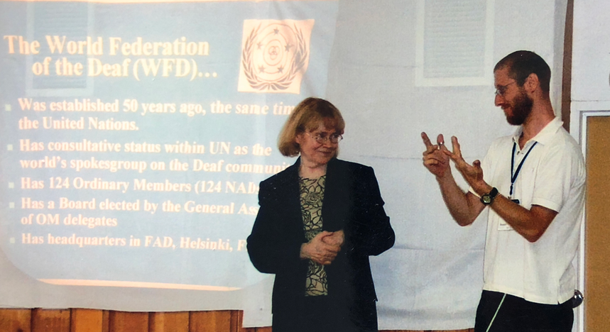 Discussion with Liisa Kauppinen, former WFD President, during World Federation of the Deaf Youth Camp (WFDYs) - Montreal, Canada - 2003
