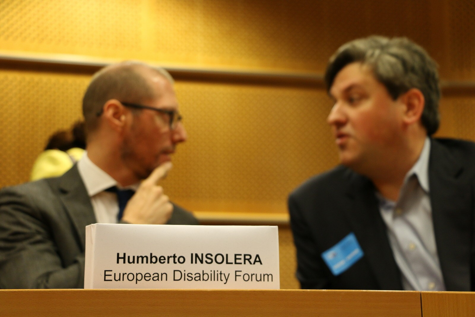 Discussing with Aira Vice President of Communications about his latest innovation for deaf and hard of hearing, blind and visually impaired during Google-EDF event on Artificial Intelligence at the European Parliament - Brussels, Belgium - November 2017