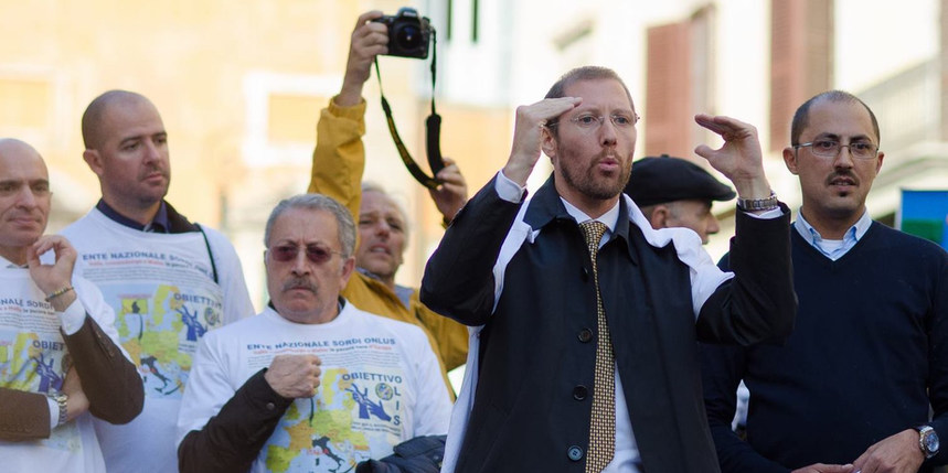 Speech about the rights of deaf people in the EU in front of over 7.000 people during World Deaf Day - Roma, Italy - September 2014