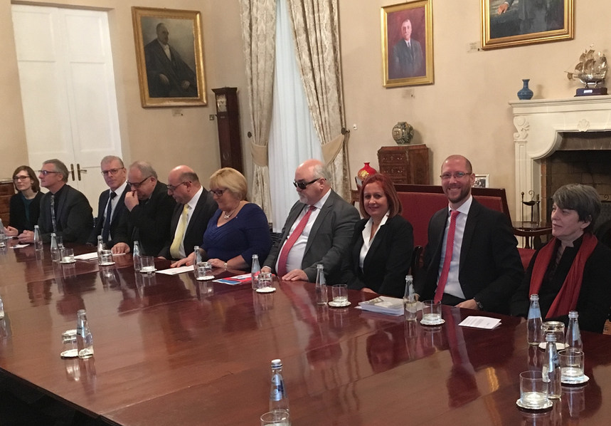 Representative of the EUD at a formal meeting with EDF and Maltese Presidency discussing deaf rights and giving EUD materials to the First Minister of Malta - La Valletta, Malta - 2017