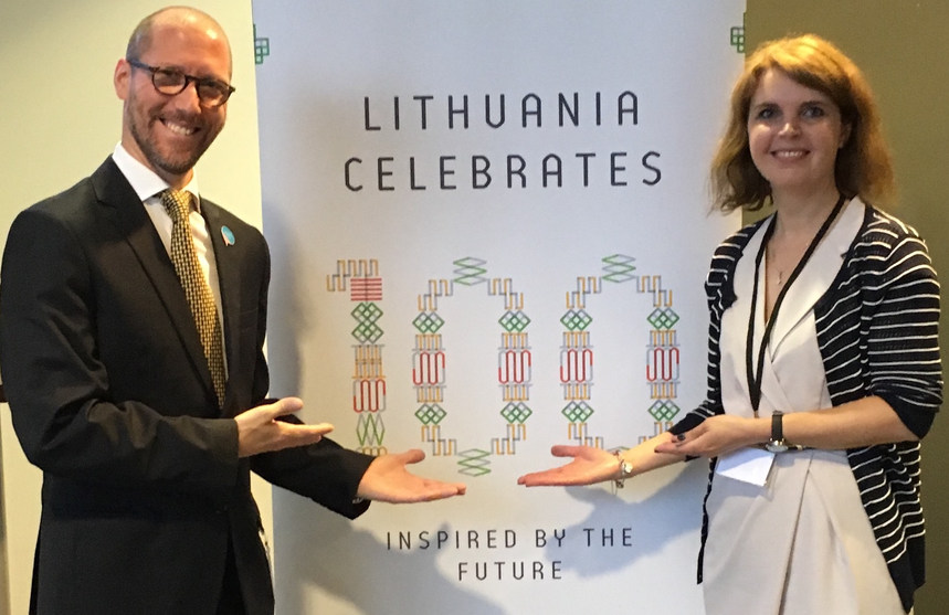 With the president of the Lithuanian National Forum of the Disabled (LNF) the European Disability Movement gathers to demand a decent standard of living for all persons with disabilities in Europe, during the celebration of the 100th anniversary of Lithuania - Vilnius, Lithuania - May 2018 - ☝ ⏎