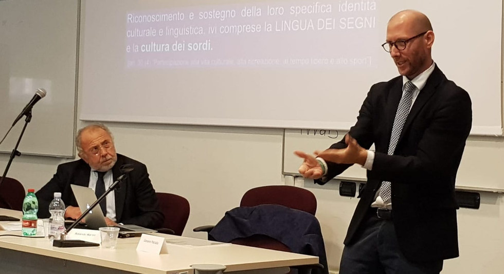 Lectures on how to make deaf / hard of hearing and deaf blind students feel welcome giving key solutions and guidelines about communication, environment, didactics, interpreters etc…for the university path at the University of Perugia - Perugia, Italy - October 2018